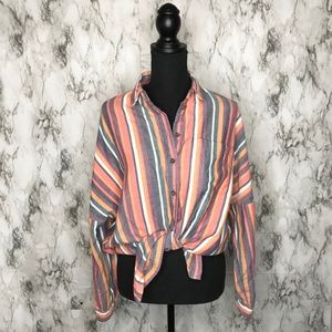 UO Oversized Striped Tie Front Button Down Small